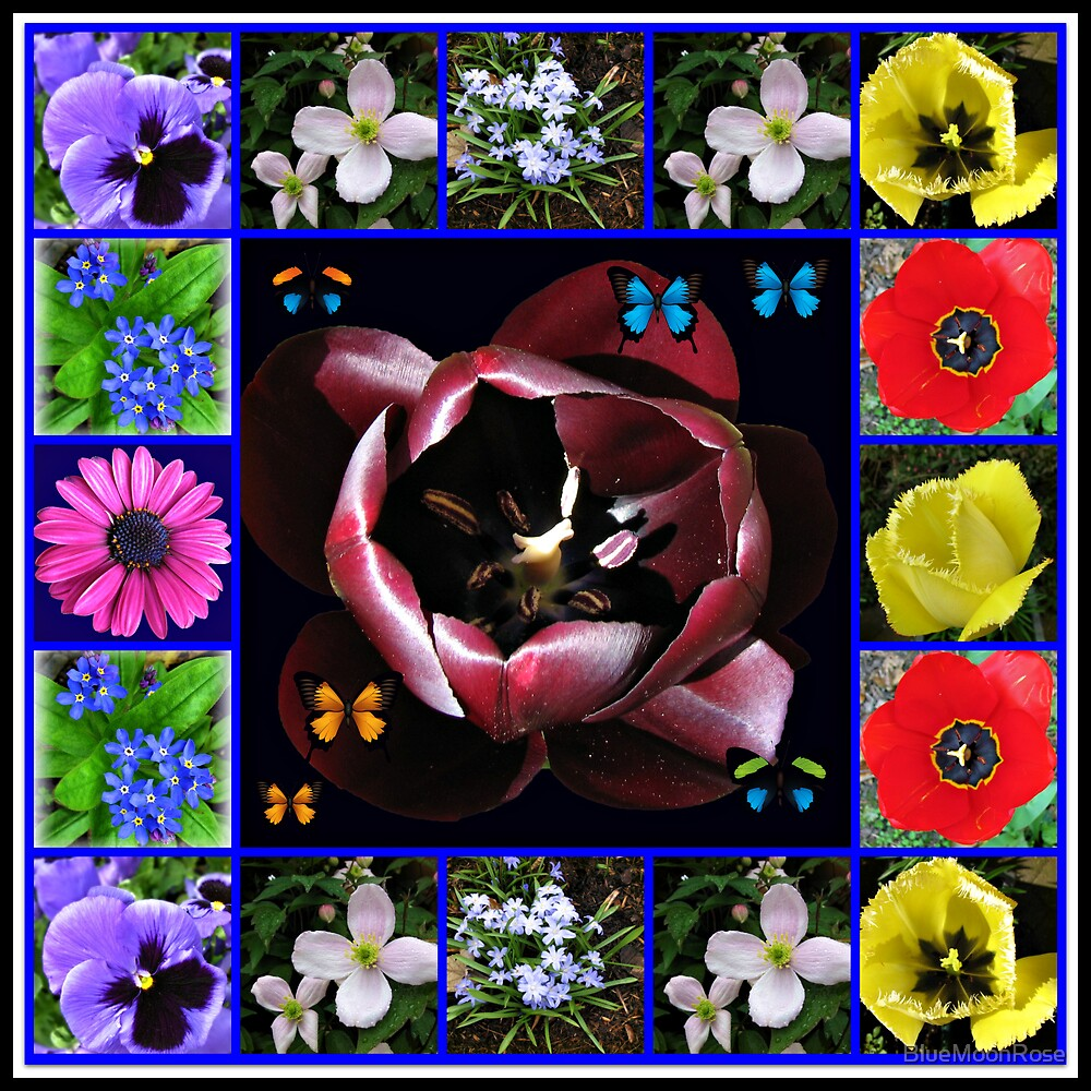 Spring Flowers Collage with Butterflies von BlueMoonRose
