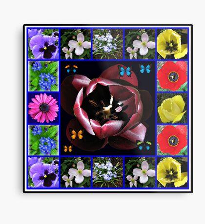 Spring Flowers Collage with Butterflies Metallbild
