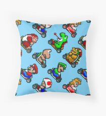 Super Mario Kart various characters pattern BL8R Throw Pillow