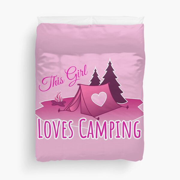 This Girl Loves Camping - Pink Duvet Cover