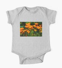 Brilliant Orange California Poppies - Impressions of Desert Spring One Piece - Short Sleeve