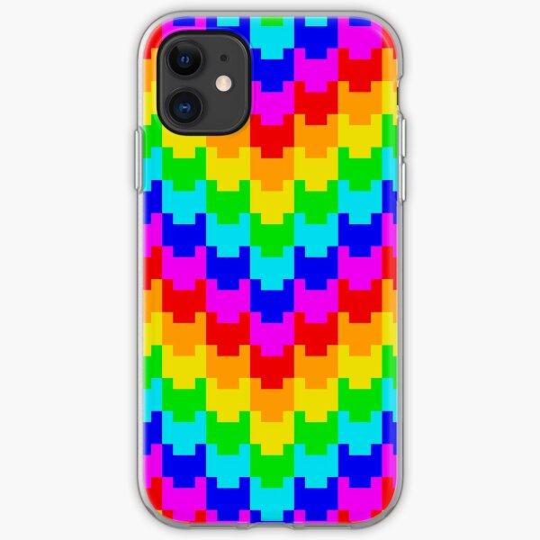 Pixelated Rainbow Heart Pattern iPhone Soft Case