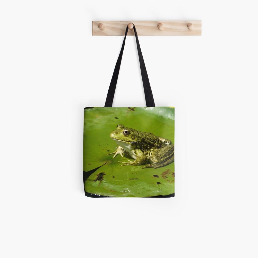 Green frog, green lily pad Tote Bag
