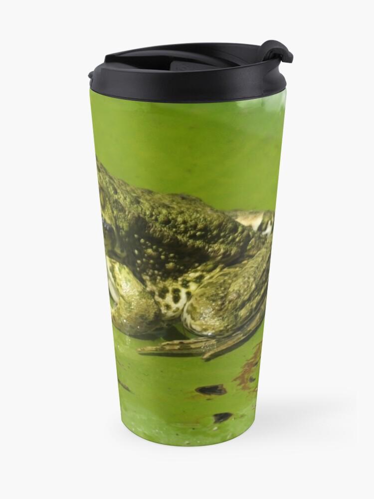 Alternate view of Green frog, green lily pad Travel Mug