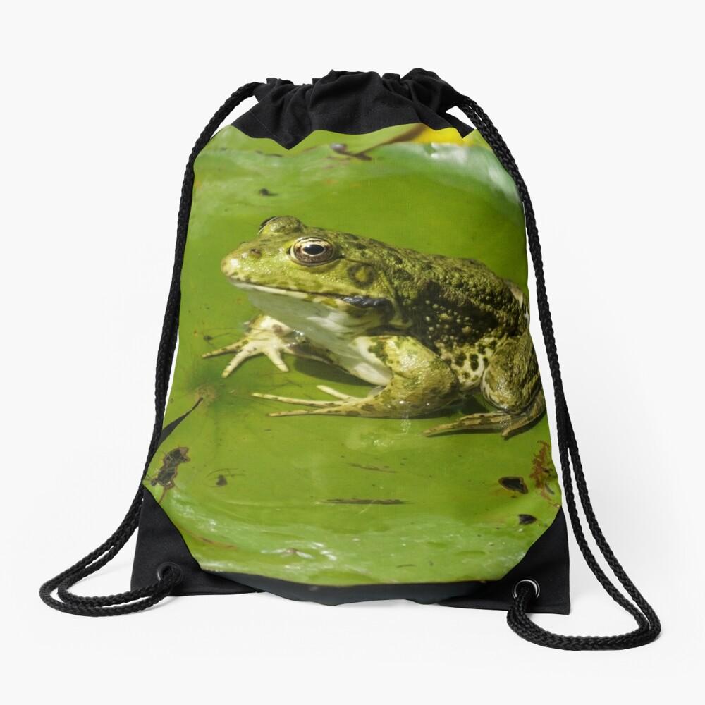 Green frog, green lily pad Drawstring Bag