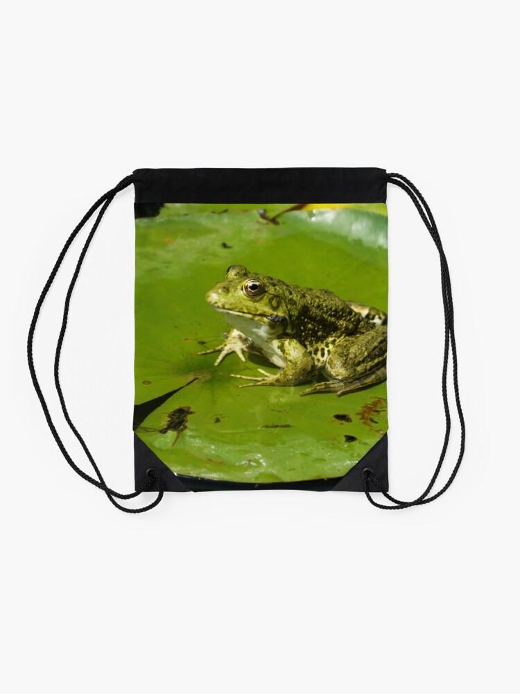Alternate view of Green frog, green lily pad Drawstring Bag