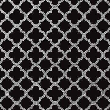 Matte Black Silver Quadrafoil Chic Faux Shiny Metallic Geometric Pattern by jollypockets