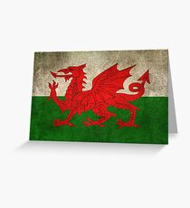 Old and Worn Distressed Vintage Flag of Wales Greeting Card