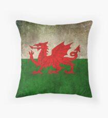 Alte und getragene beunruhigte Weinlese-Flagge von Wales Kissen
