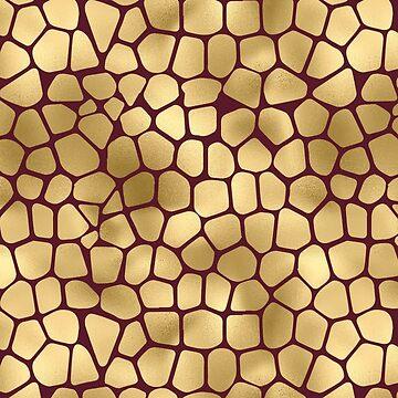 Burgundy And Gold Pretty Chic Giraffe Animal Pattern by jollypockets