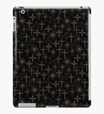 Gold crosses on a black background iPad Case/Skin