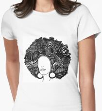 Pen & Ink  Drawing | Women's Afro  Women's Fitted T-Shirt