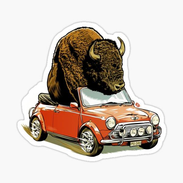 Bison in a Mini. Sticker