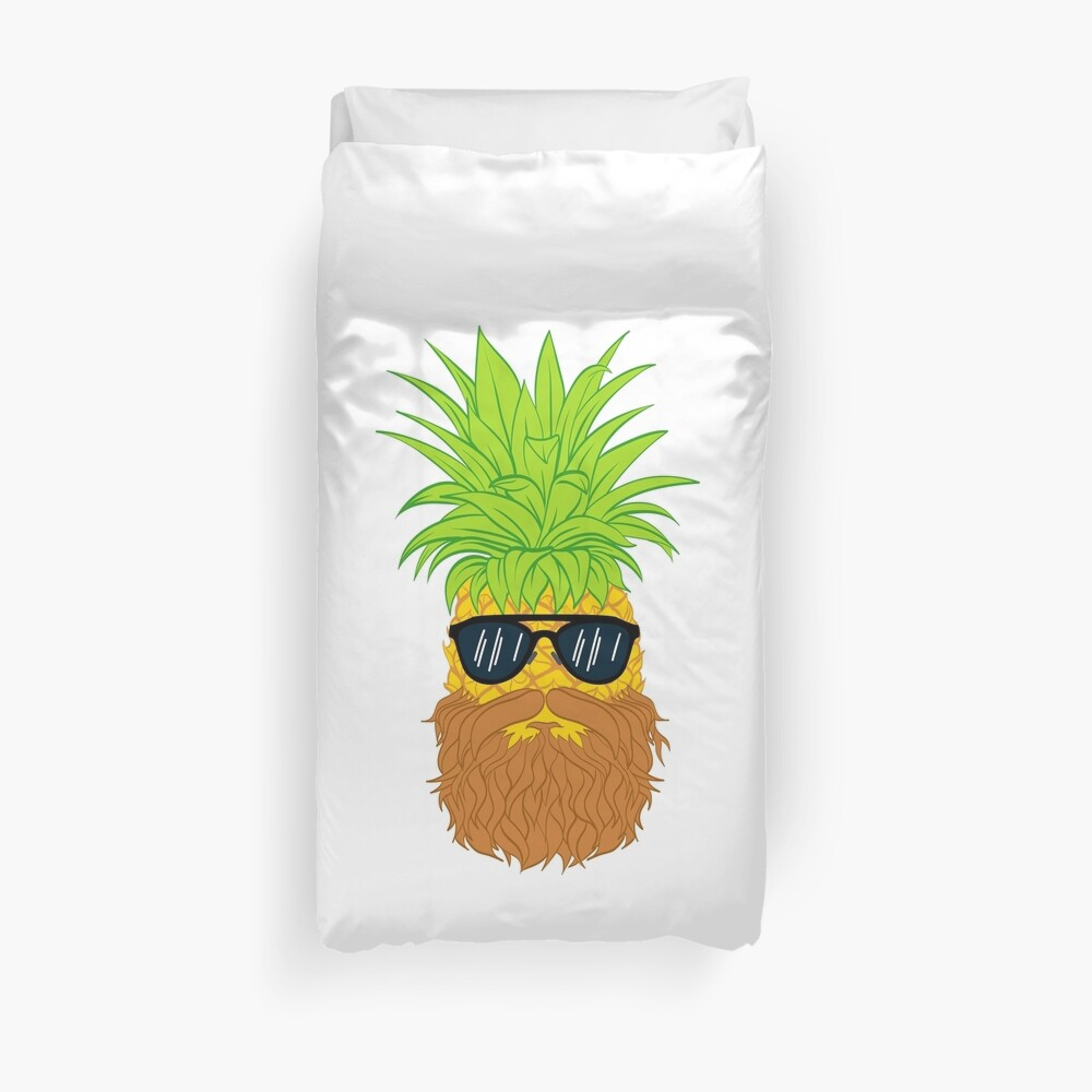 Bearded Fruit Cool Pineapple Graphic T-shirt Sunglasses Mustache Old Juicy Summer Beach Holidays Duvet Cover