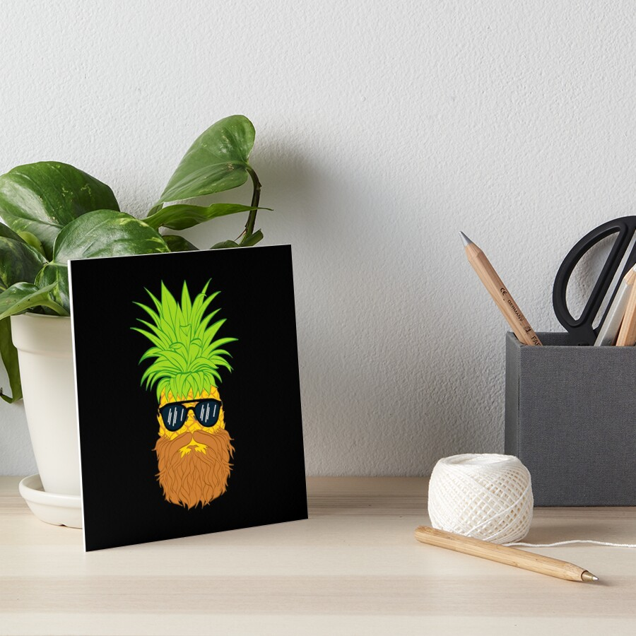 Bearded Fruit Cool Pineapple Graphic T-shirt Sunglasses Mustache Old Juicy Summer Beach Holidays Art Board Print