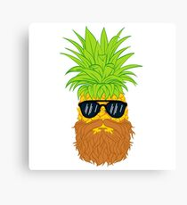 Bearded Fruit Cool Pineapple Graphic T-shirt Sunglasses Mustache Old Juicy Summer Beach Holidays Canvas Print