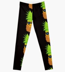 Bearded Fruit Cool Pineapple Graphic T-shirt Sunglasses Mustache Old Juicy Summer Beach Holidays Leggings