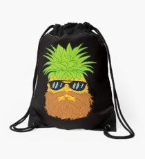 Bearded Fruit Cool Pineapple Graphic T-shirt Sunglasses Mustache Old Juicy Summer Beach Holidays Drawstring Bag