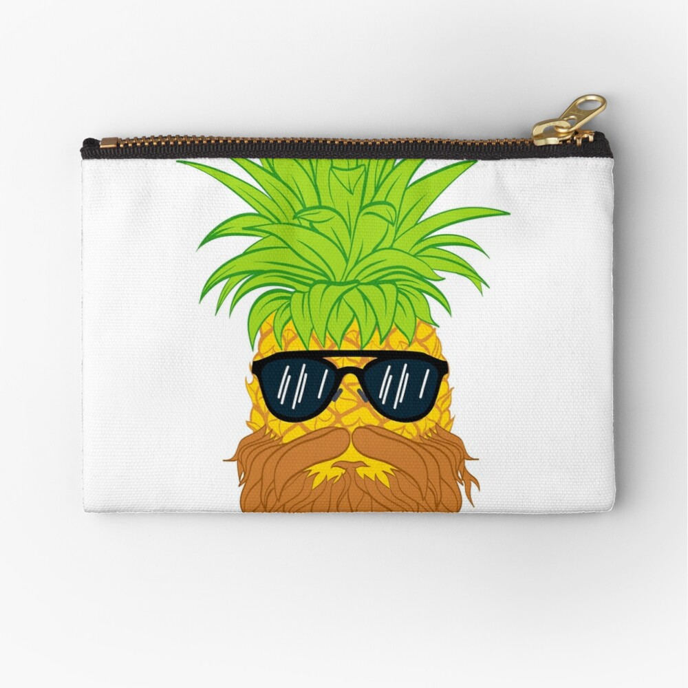 Bearded Fruit Cool Pineapple Graphic T-shirt Sunglasses Mustache Old Juicy Summer Beach Holidays Zipper Pouch