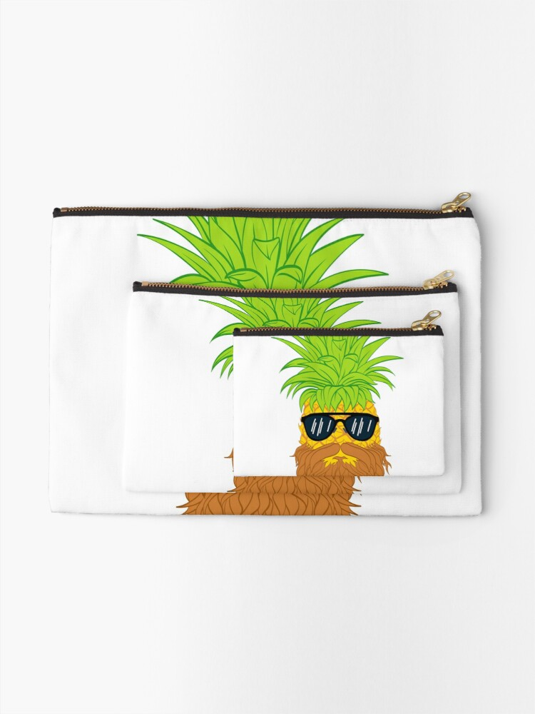 Alternate view of Bearded Fruit Cool Pineapple Graphic T-shirt Sunglasses Mustache Old Juicy Summer Beach Holidays Zipper Pouch