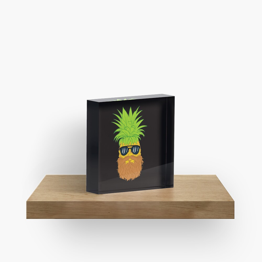 Bearded Fruit Cool Pineapple Graphic T-shirt Sunglasses Mustache Old Juicy Summer Beach Holidays Acrylic Block