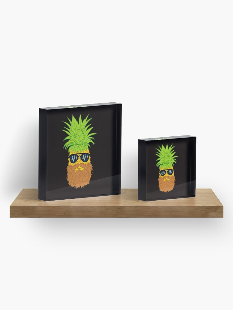 Alternate view of Bearded Fruit Cool Pineapple Graphic T-shirt Sunglasses Mustache Old Juicy Summer Beach Holidays Acrylic Block