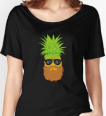 Bearded Fruit Cool Pineapple Graphic T-shirt Sunglasses Mustache Old Juicy Summer Beach Holidays Relaxed Fit T-Shirt