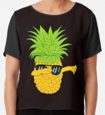 Swagger Dab Sunglasses Fruit Cool Pineapple Graphic T-shirt Summe Holidays Vacation Swag Dope Design Chiffon Top
