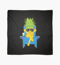Fruit Cool Pineapple With Sunglasses Graphic T-shirt Summer Sun Drinking Juice Holidays Relaxing  Scarf