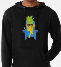 Fruit Cool Pineapple With Sunglasses Graphic T-shirt Summer Sun Drinking Juice Holidays Relaxing  Lightweight Hoodie