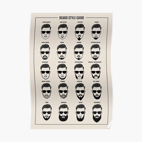 beard style guide poster Poster