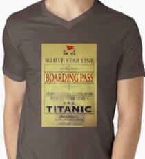 RMS Titanic Boarding Pass design V-Neck T-Shirt