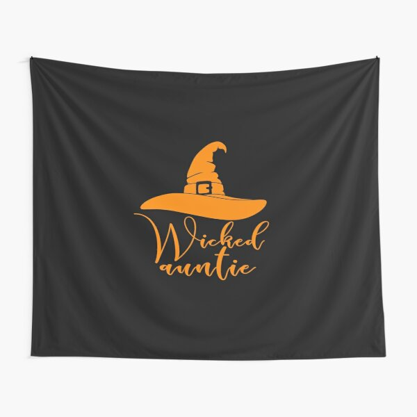 Aunt Halloween Cute Wicked Witch Hat Auntie White Tapestry By Kimmicsts Redbubble