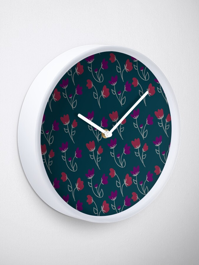 Alternate view of Loose floral pattern Clock