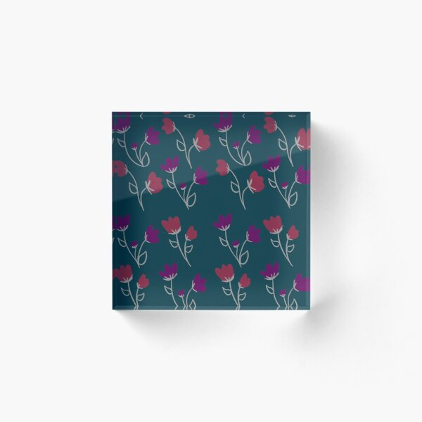 Loose floral pattern Acrylic Block