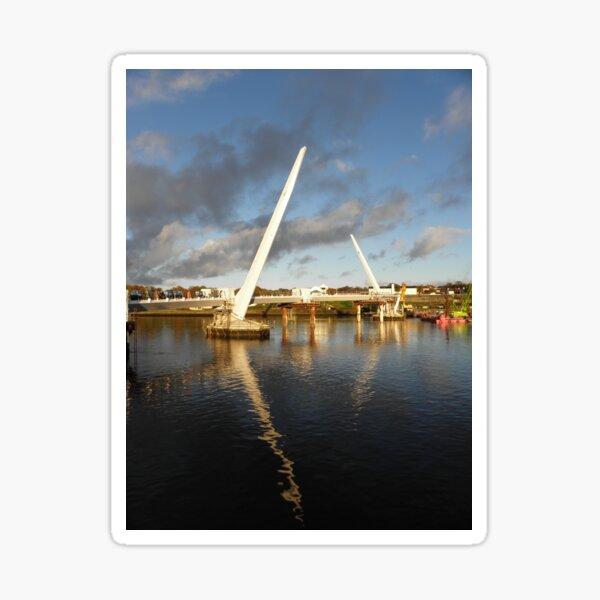 New Peace Bridge in constuction over river Foyle - Derry Ireland Sticker