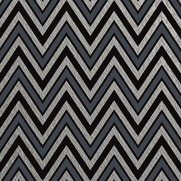 Matte Black Silver Chevron Zigzag  Chic Faux Shiny Metallic Geometric Pattern by jollypockets