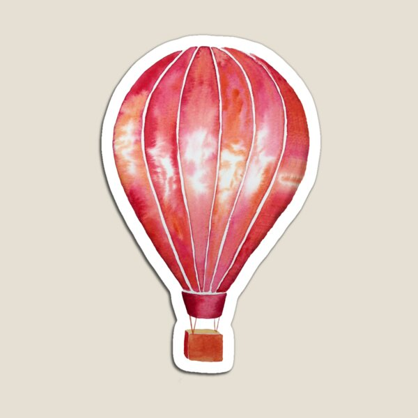 Red Watercolor Hot Air Balloon Magnet