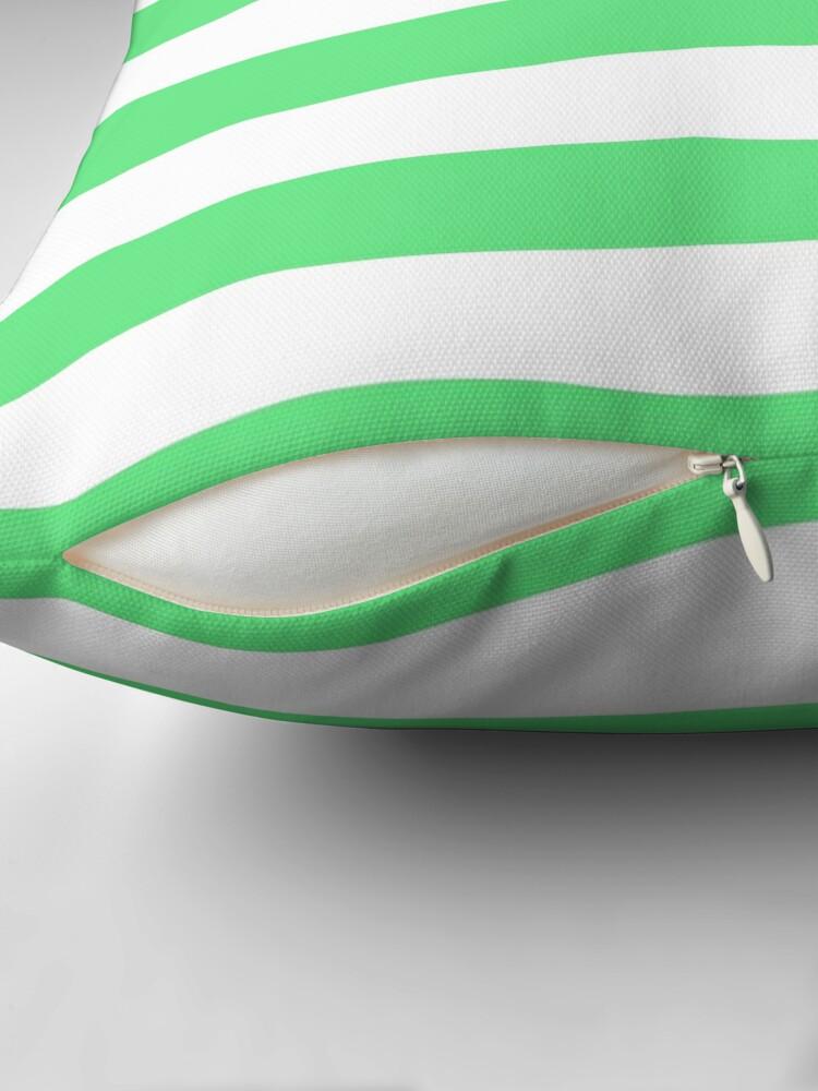 Alternate view of Algae Green and White Horizontal Cabana Tent Stripes Throw Pillow