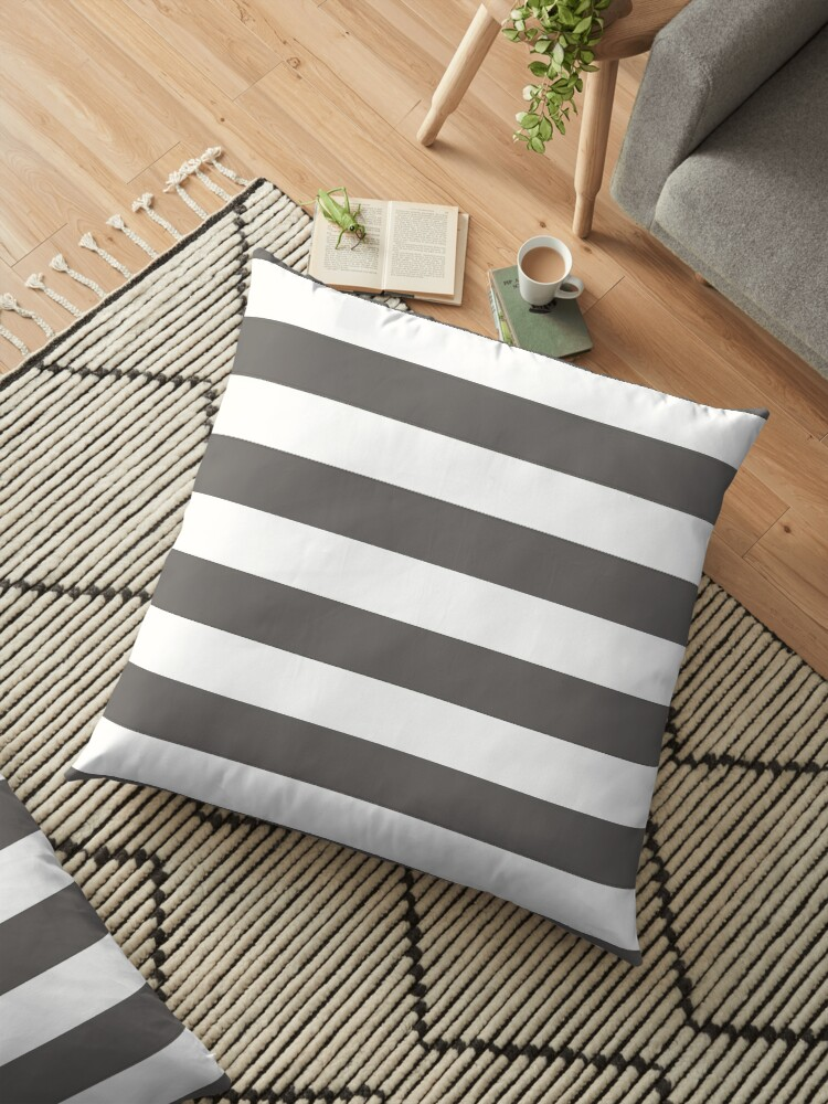 Ash Gray and White Horizontal Cabana Tent Stripes by honorandobey