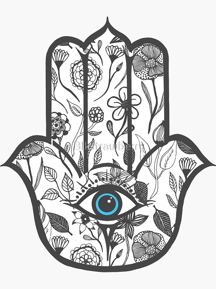 Simple Hand Drawn Floral Hamsa Hand by Blkstrawberry