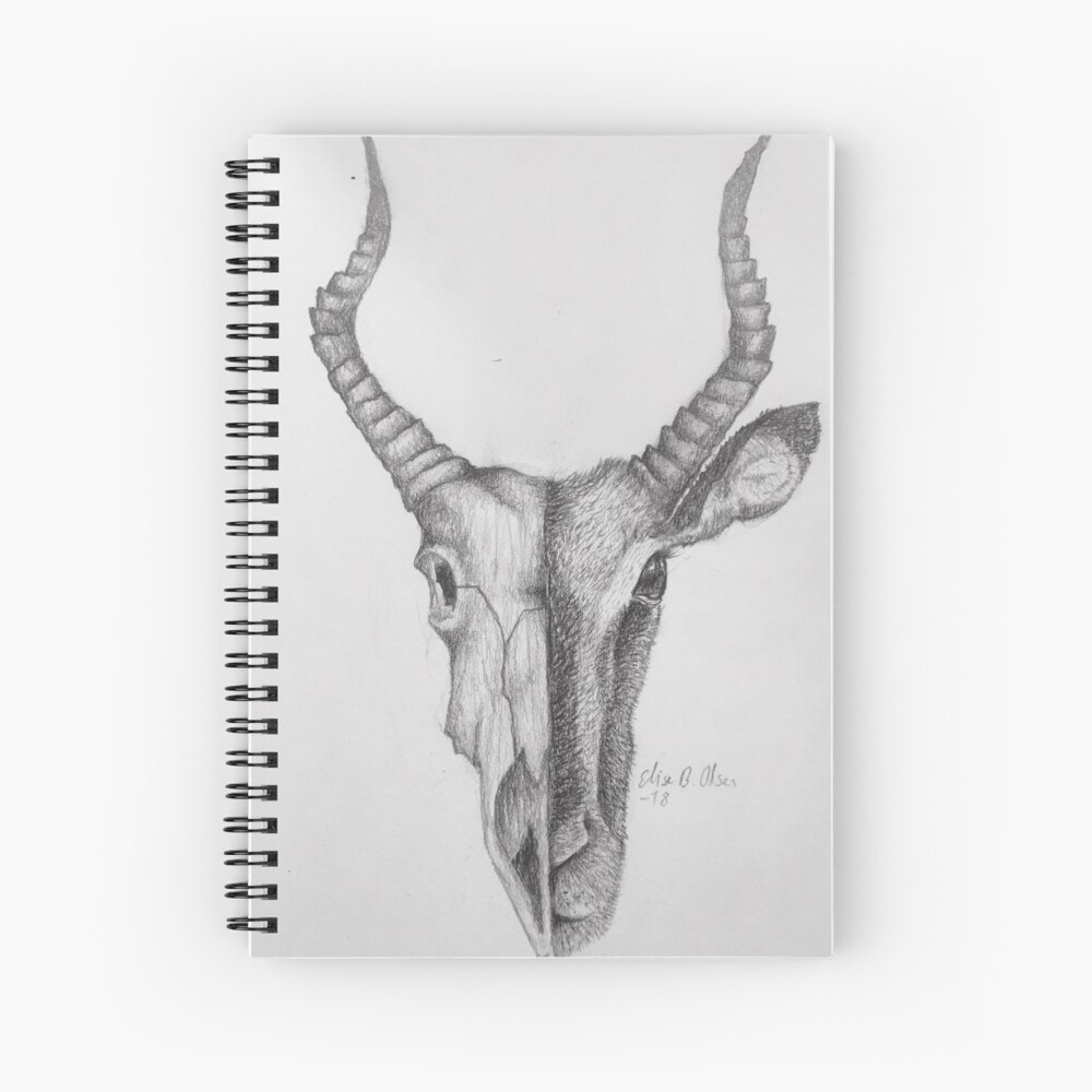 Gazelle and skull sketch Spiral Notebook