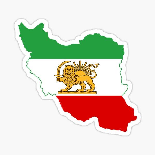 Flag Map of Iran, Iranian Flag, 1964-1980 Sticker