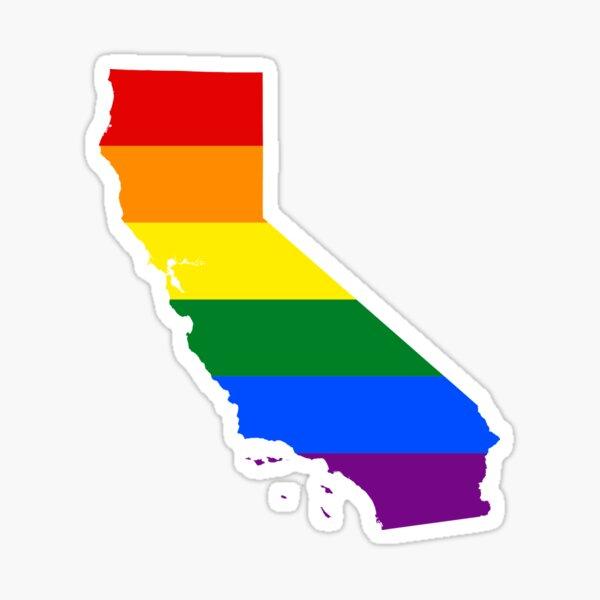 LGBT Flag Map of California  Sticker