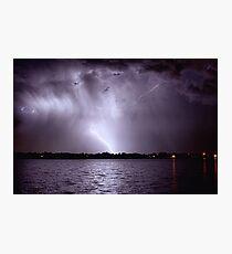 Lake Lightning Sky Photographic Print
