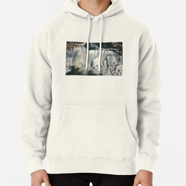 Aerial View of Niagara Falls with Snow and Ice Pullover Hoodie