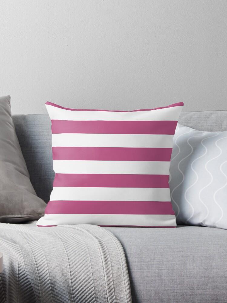 Large Bashful Pink and White Horizontal Cabana Tent Stripes by honorandobey