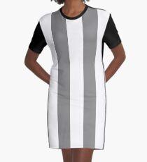Large Battleship Gray and White Vertical Cabana Tent Stripes Graphic T-Shirt Dress