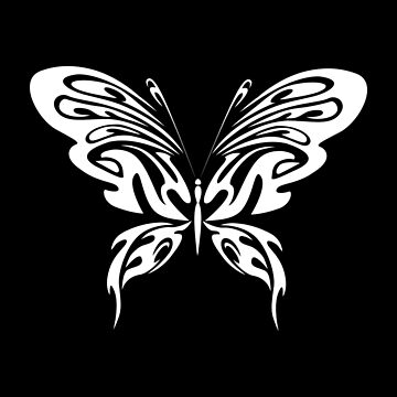 White Butterfly Tribal Art Tribe Floral Paleo Cave Tattoo Design by DogBoo