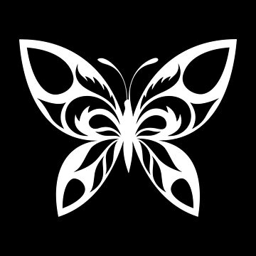 Simple Butterfly Tribal Art Tribe Floral Paleo Cave Tattoo Design by DogBoo
